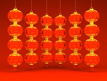 Some Lunar New Year's Lanterns On Red Stock Photos