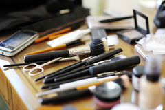 Some makeup brushes. And other accessories stock photo