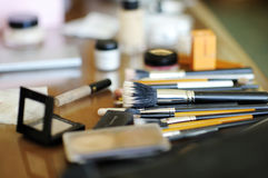 Some makeup brushes. And other accessories stock image