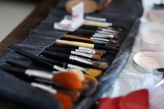 Some makeup brushes. And accessories royalty free stock photography