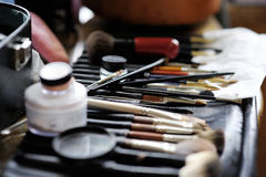 Some makeup brushes and accessories. Some makeup brushes and other accessories royalty free stock photography