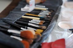 Some makeup brushes and accessories Stock Images