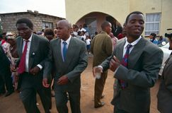 Some males guests at a wedding in South Africa. Guests at a wedding in South Africa Royalty Free Stock Images