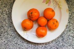 Some Mandarins. Fruit Detail Closeup Royalty Free Stock Image