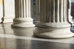 Row of marble columns in an entrance. Some marble columns of Zapio building in Athens, Greece Stock Photography