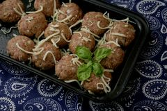 Meatballs with cheese. Some meatballs of minced meat with cheese stock photo
