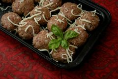 Meatballs with cheese. Some meatballs of minced meat with cheese royalty free stock photography