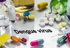 Some medicines to fight disease, dengue virus. Conceptual image royalty free stock image