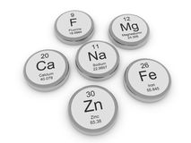 Some metal minerals. Some mineral capsule on white background: fluorine, magnesium, iron, calcium, sodium, zinc Royalty Free Stock Photos