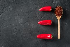 Some mini peppers and dry spices over black background. Copy space royalty free stock image