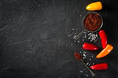 Some mini peppers, dry spices and salt. Over black background stock photo