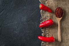 Some mini peppers on a sack over black background. Copy space stock image