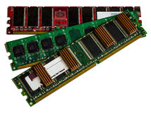 Some modules DDR RAM memory computer on white background. Were not removed the ratings of some chips Stock Image