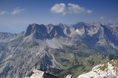 Some mountain peaks in natural landscape. In austria royalty free stock images