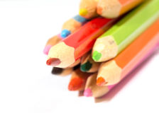 Some multi-colored pencils, red will put forward more strongly t Royalty Free Stock Image