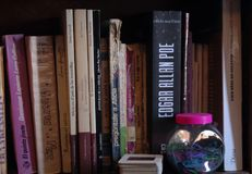 Bookshelf full of old books. Some of my old books, edagar alan poe, frenkenstein Royalty Free Stock Photos