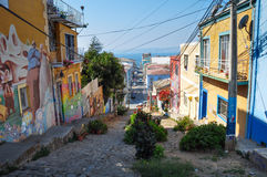 Some narrow street in Valparaiso, Chile.  stock image