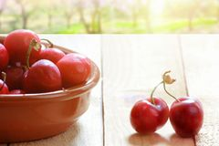 Some natural cherries on a wooden table after the crop, cherry tree field. Empty copy space. For Editor`s text stock photo
