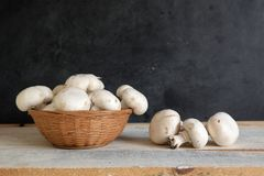 Some natural mushrooms in a basket on a white wooden table in a rustic kitchen. Empty copy space for Editor`s text Stock Images