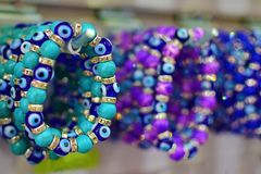Some Nazar bracelets in souvenir shop. Kemer, Antalya Stock Image