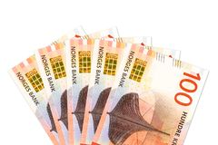 Some new 100 norwegian krone bank note obverse stock photos