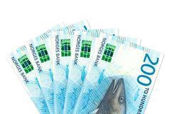 Some new 200 norwegian krone bank note obverse stock photography