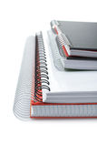 Some notebooks. With soft shadow on white background. Shallow DOF royalty free stock photo