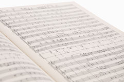 Some notes are in a notebook. A picture of some notes is in a musical notebook Royalty Free Stock Photo