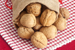 Some nuts in a jute bag. A some nuts in a jute bag Stock Photography