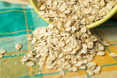 Some oatmeal in the wooden spoon Stock Images