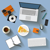 Some objects with long shadow used in usual life of modern people  on background for use in design for card, poster. Illustration in trendy flat style with some Stock Photography