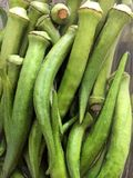 Organic harvest of okra ready for cooking stock image