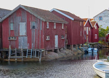 Some old boathouse on swedish westoast. At smogen Royalty Free Stock Image