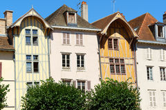 Some old houses in Troyes, France. Some buildings and medieval half-timbered houses in a row in the old town of Troyes, Aube, Champagne-Ardenne, France Stock Images