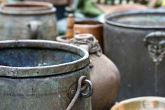 Some old kettles Royalty Free Stock Photo