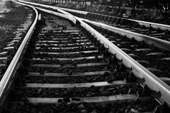 Some old rails. Black and white photo of some old rails royalty free stock images