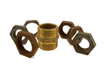 Some old rusty steel screw nuts Stock Photography