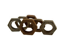 Some old rusty steel screw nuts Stock Images