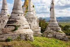 Stupa, Thaung Tho, Myanmar. Some old stupas on a hill in the south of the Inle Lake in the village of Thaung Tho in central Burma Royalty Free Stock Photos