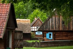 Some old wooden houses Stock Photos