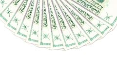 Some omani rial bank notes. With copy space royalty free stock photo