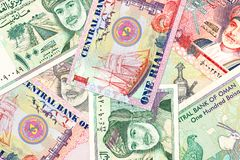 Some omani rial bank notes. Specimen royalty free stock photos