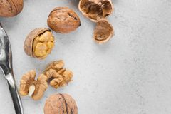Some open walnuts and metal nutcracker. With copy space stock photo
