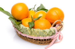 Some oranges with their leafs in a basket. On white Stock Images