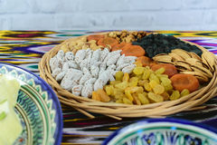 Some oriental sweets and tea in Samarkand cafe, Uzbekistan. Some oriental sweets and tea in Samarkand cafe stock image