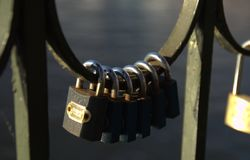 Chained Up. Some of the padlocks left by visitors to the Vyšehrad Railway Bridge in Prague, Czech Republic stock photos