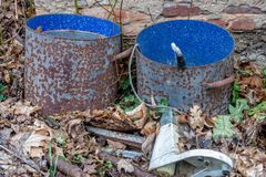 Paint bucket of metal with blue color stock photo