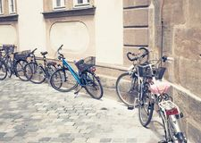 Some parked bikes Royalty Free Stock Images