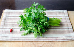 Some parsley and a pepper Royalty Free Stock Photos