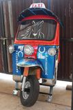 Some part of a tricycle. NONGBUALAMPHU, THAILAND – JUNE 16, 2018 : Some part of a tricycle, which be the vehicle that is famous and know generally in royalty free stock image